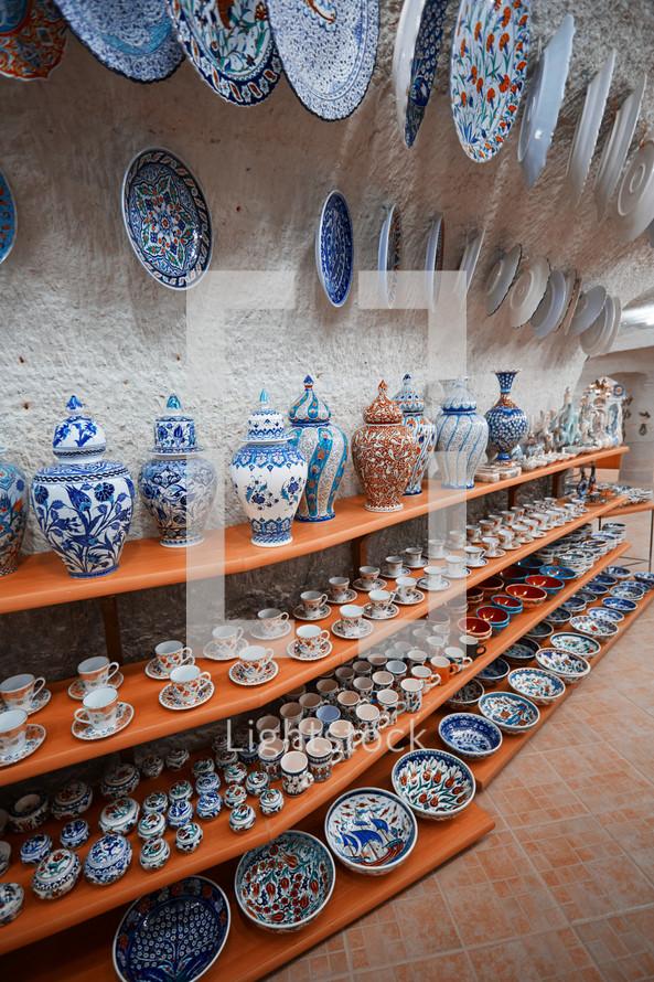 decorative pottery at a shop