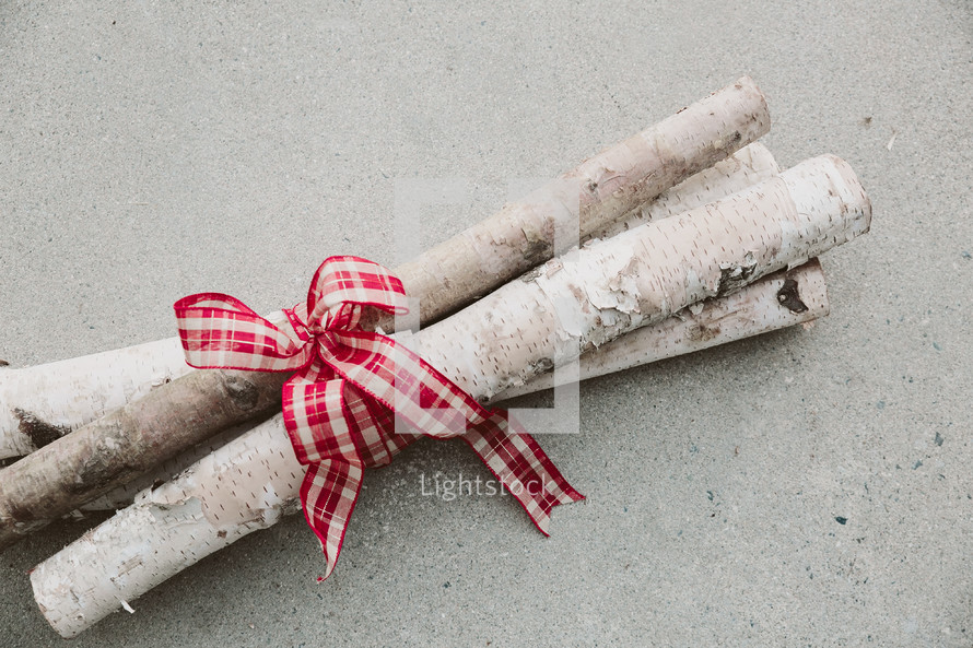 Birch logs tied together with red and white ribbon.