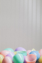 Colorful plastic Easter eggs.
