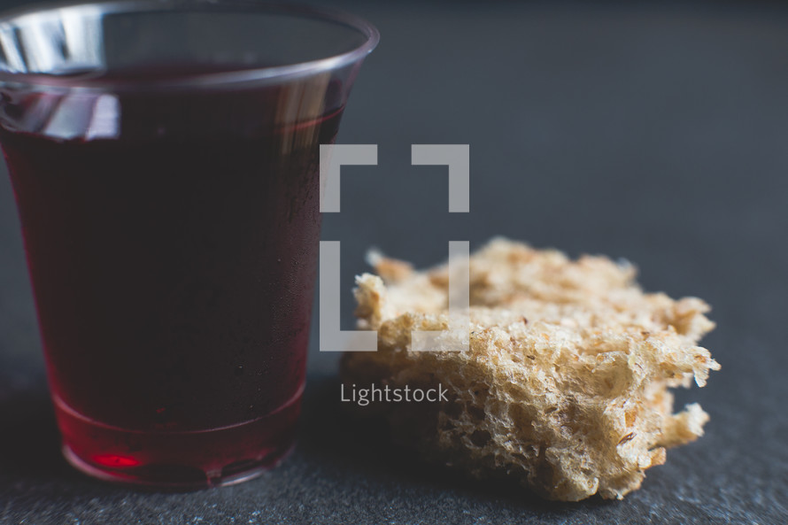 Communion wine cup and bread — Photo — Lightstock