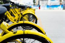 yellow rental bikes