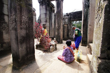 Buddhist prayer in ancient temple