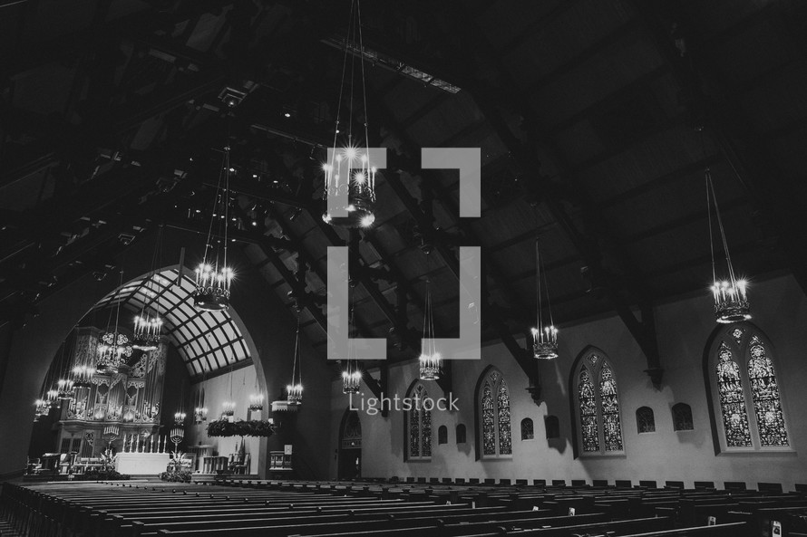 An ornate empty church sanctuary.