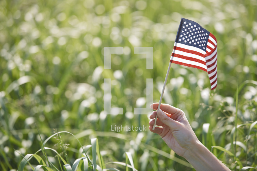 arm holding out an American flag