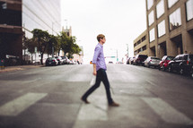 man using a crosswalk