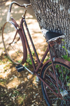 A bike resting against a tree.