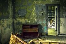 room, destruction, dresser, doorway, abandoned, neglected, building