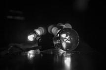 a sting of lightbulbs