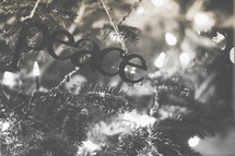 A peace ornament on the Christmas tree