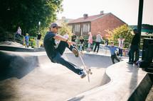 a man skateboarding in a skatepark