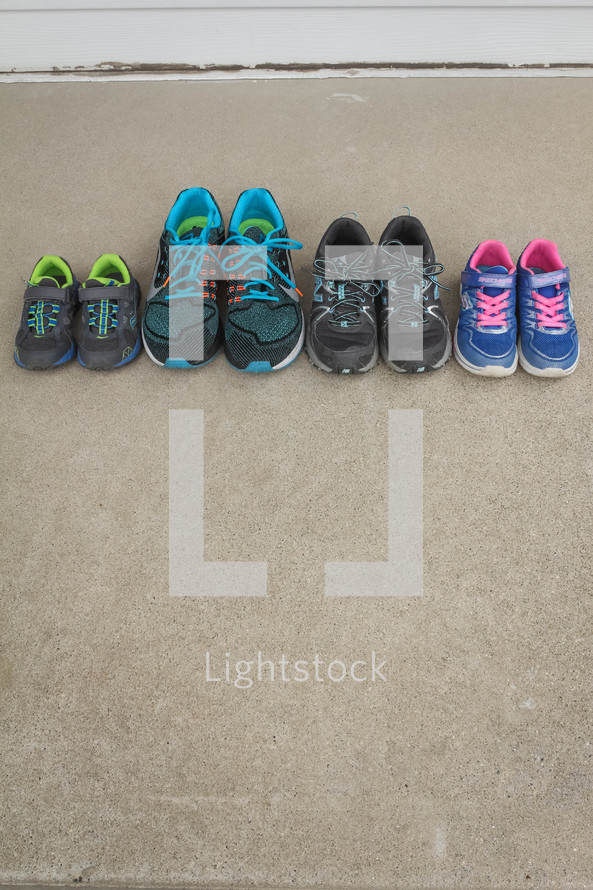 a family's tennis shoes