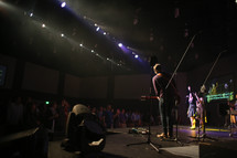 worship leaders playing music during a worship service