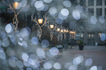 bokeh lights and street lamps at Christmas