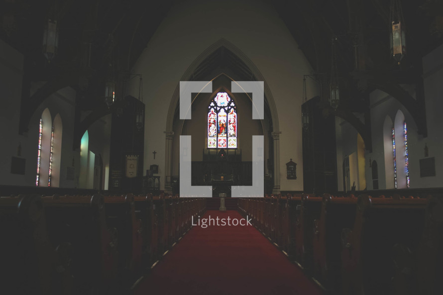 dark interior of a church