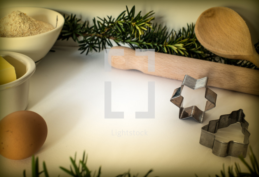 butter, sugar, flour, cookie cutters, Christmas, holidays, egg, baking, wooden spoon, rolling pin
