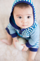 infant boy in a hoodie