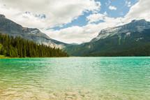 shoreline of a mountain lake