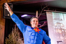 a man dressed up as superman