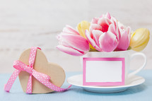 Spring Flowers with Gift and Blank Card