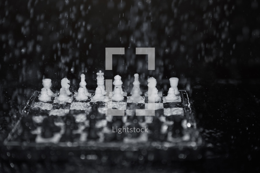 wet chessboard