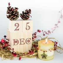 25th of December, Christmas, Christmas day, blocks, candle, garland, candle, stars, pine cones, decorations