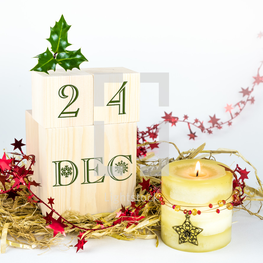 25th of December, Christmas, Christmas day, blocks, candle, hay, candle, stars, holly, decorations