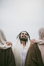 Jesus walking with disciples.