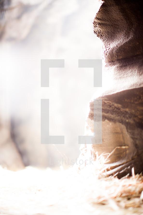 glow of light from Jesus' tomb
