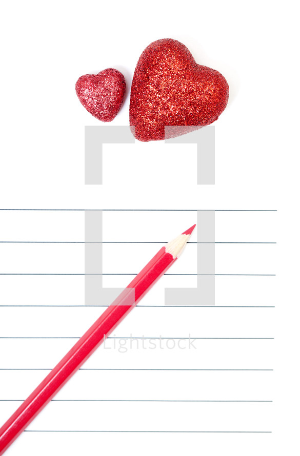 Red hearts on lined paper — Photo — Lightstock