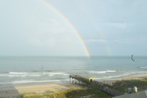 rainbow in the sky over the ocean