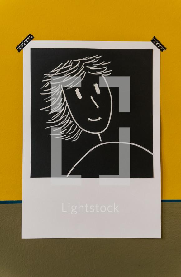 selfie drawing polaroid