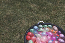water balloons in a tub