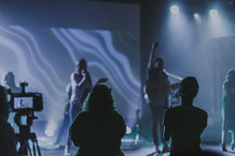 worship leaders playing worship music during a contemporary worship service