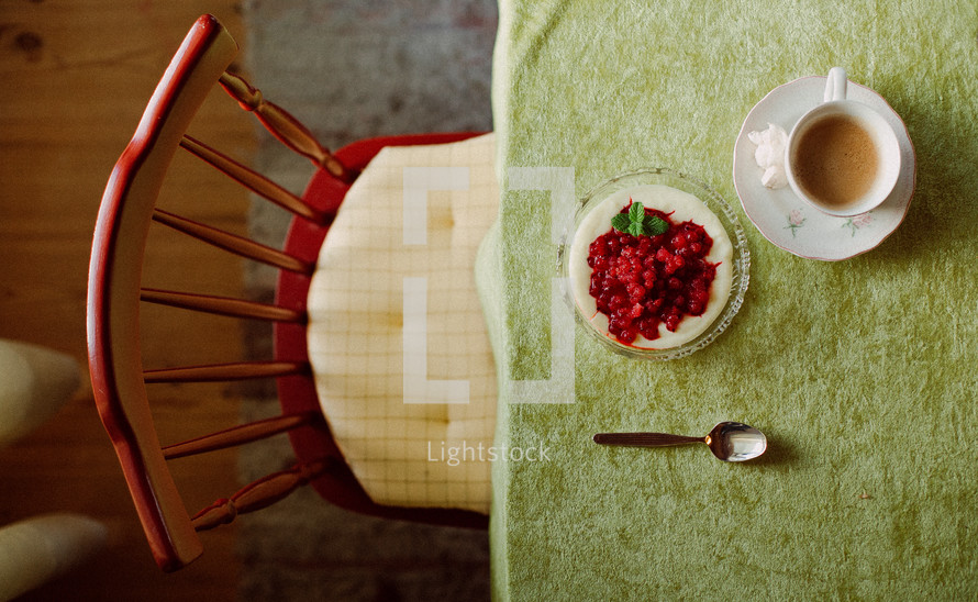 place setting at a kitchen table