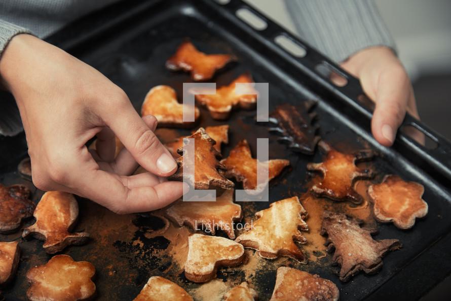 burnt cookies on a pan