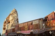 Outdoor shop with carpets for sale. Cappadocia, Turkey