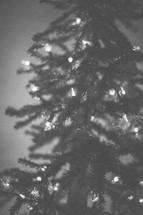 A Christmas tree with lights