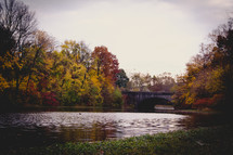 a bridge over a river and fall trees along the shore