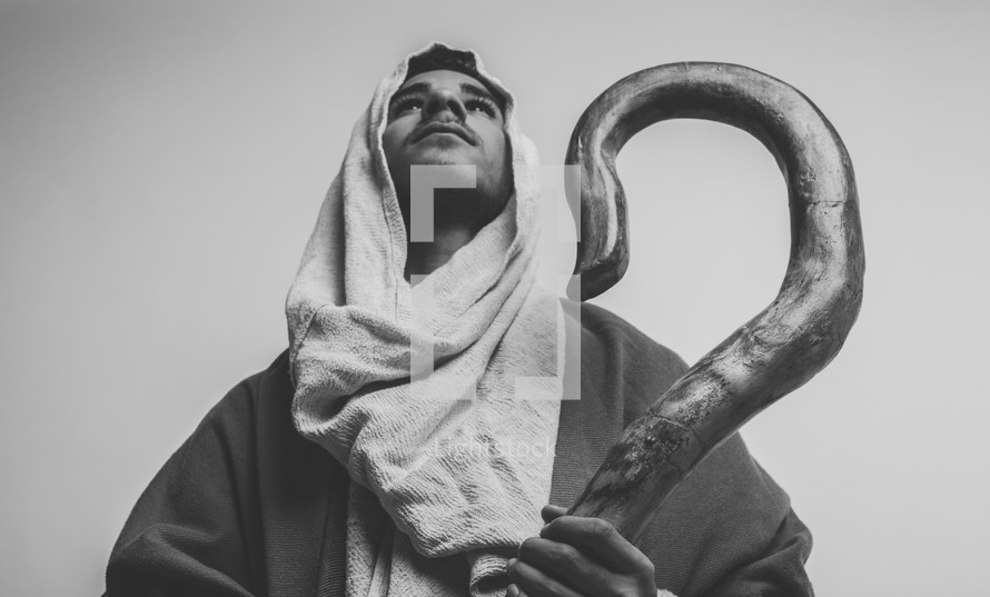 Joseph holding his shepherds staff