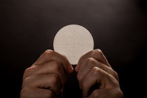 Hands holding a communion wafer.