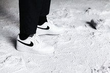 sneakers in snow