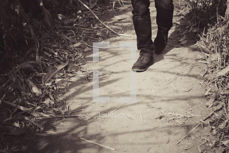 feet walking on a path