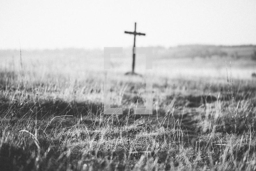 cross in a field at sunrise