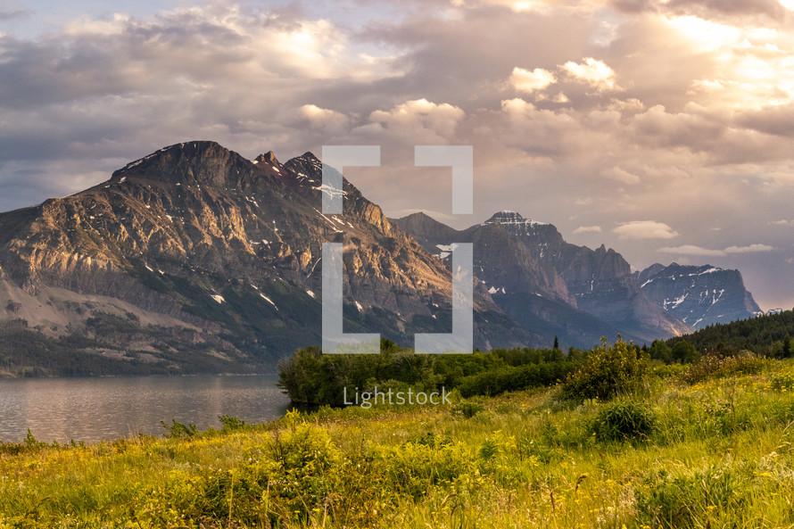 spring mountains and lake