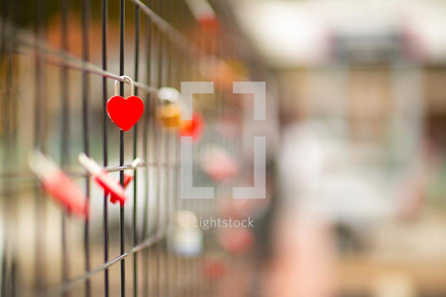 heart shaped love locks
