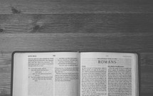 Open Bible on a table.