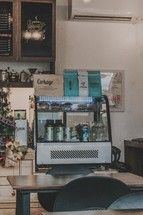 coffee shop decorated for Christmas