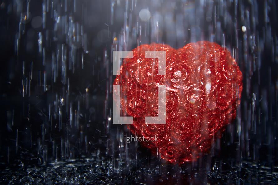 Heart shape in heavy rain