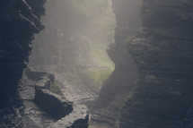 foggy view at the mouth of a cave