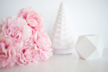 pink flowers, white candle holders, holidays
